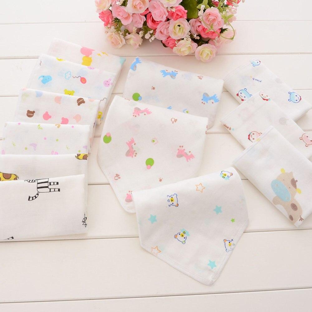 100% Cotton Gauze Newborn Baby Infant Cartoon Face Hand Bathing Towel Bibs 25*25 Feeding Square Towels Handkerchief