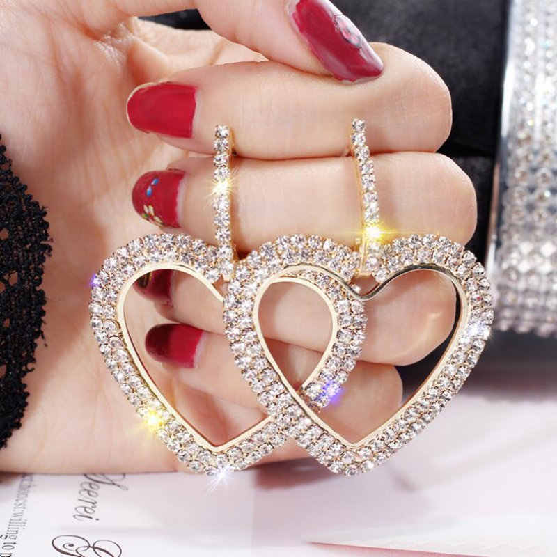 2019 New design creative jewelry high-grade elegant crystal earrings Love Heart geometric Gold earings wedding earring for woman