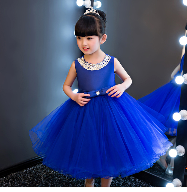 efcafe55ad3aa Glizt الملكي الأزرق أطفال بنات حفل زفاف زهرة فتاة فستان طفلة اللباس حبة  القوس prom رسمي