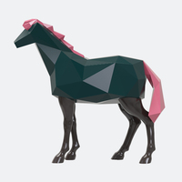 Смола Абстрактная Геометрия лошади статуэтки Home Decor ремесел украшения комнаты объекты старинные украшения смоляные фигурки животных подар