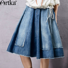 Artka Women's Summer New Vintage Solid Color Shirred Elegant Skirt Comfortable Cotton All-Match Skirt QN14156X