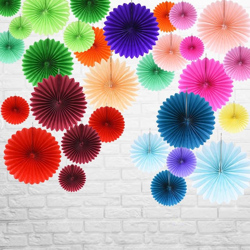 5pcs 10/15/20/25cm Paper Fan Pinwheel Round Lantern For Wedding Festival Party Hanging Flower Decor Birthday DIY Craft Supply 8z