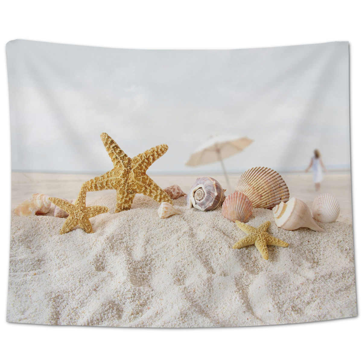 Beach Coconut Tree Sea Hammock Sky Wall Décor Wall Art Coverlet Tapestry Bedding Blanket Curtain Sheet Throw Scarf Wrinkle-Resis