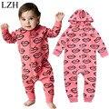 LZH Recién Nacido Ropa de Bebé de Los Mamelucos Del Mono Niños Niñas niños Con Capucha Mameluco Carta Papas Fritas de Impresión Corazón Mamelucos Infantiles Ropa