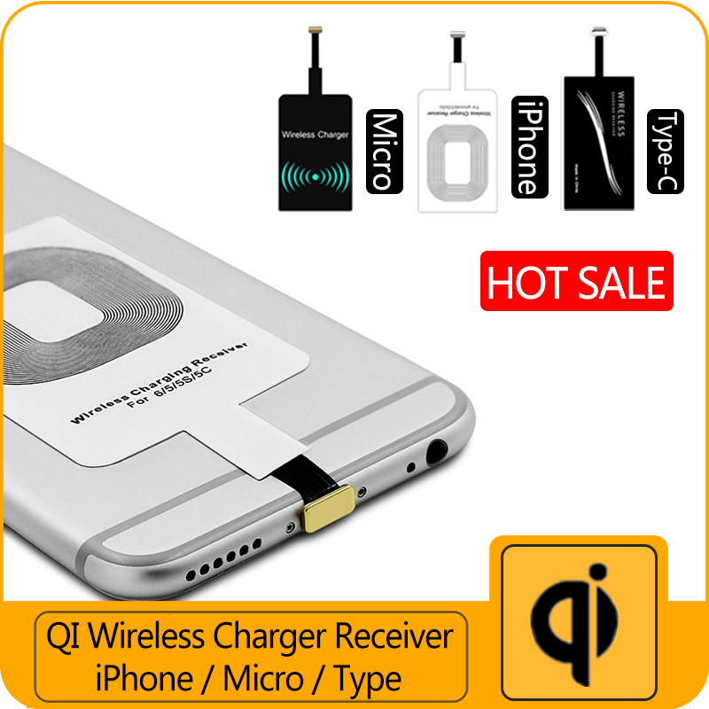 universal qi wireless charger receiver for iphone 5 6 7. Black Bedroom Furniture Sets. Home Design Ideas