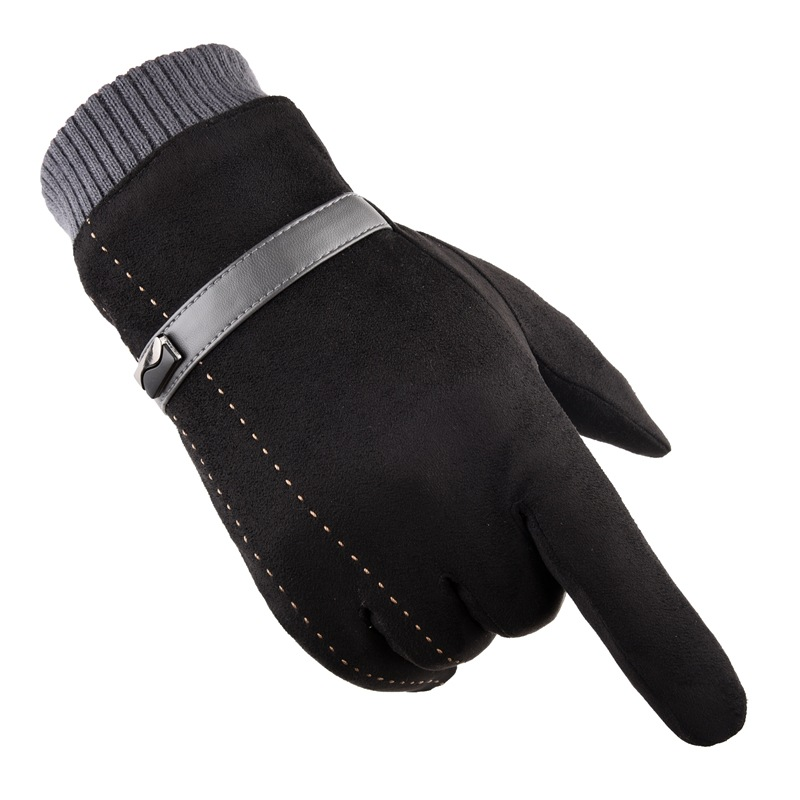 Winter Warm Suede Leather Gloves Men Thick Cashmere Soft Glove Touchscreen Autumn Outdoor Anti Slip Windproof Driving Ski Gloves
