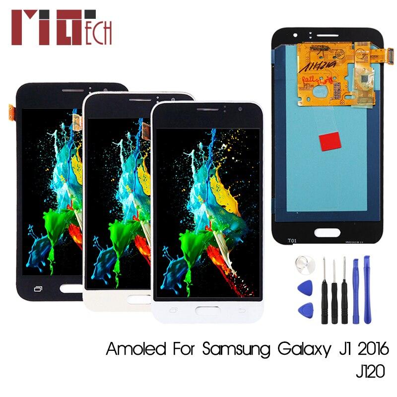Super AMOLED pour Samsung Galaxy J1 2016 J120 J120F J120M J120H J120G OLED LCD écran tactile numériseur assemblée