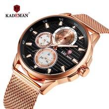 купить Luxury Watch Men KADEMAN Brand 6 Hands Auto Date Week Calendar Business Wristwatch Stainless Steel 3ATM Relogio Masculino 852G по цене 1687.46 рублей