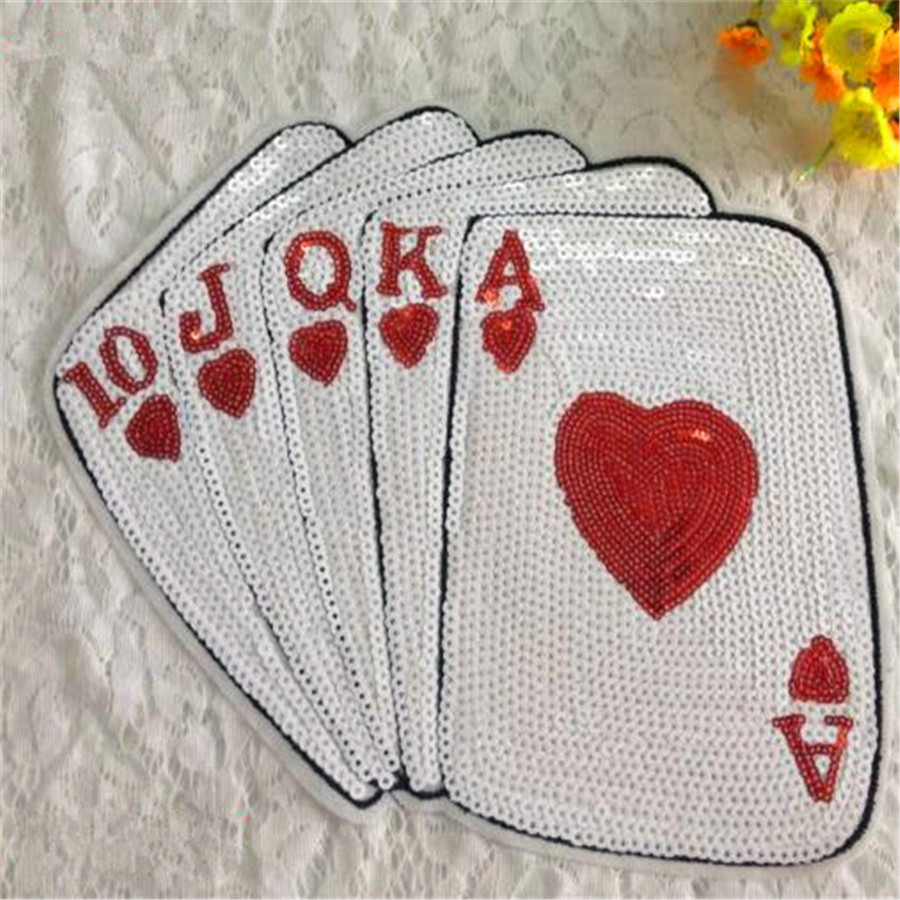 Sequins patch poker diy patches for clothes sew on for Sew on letters for clothing