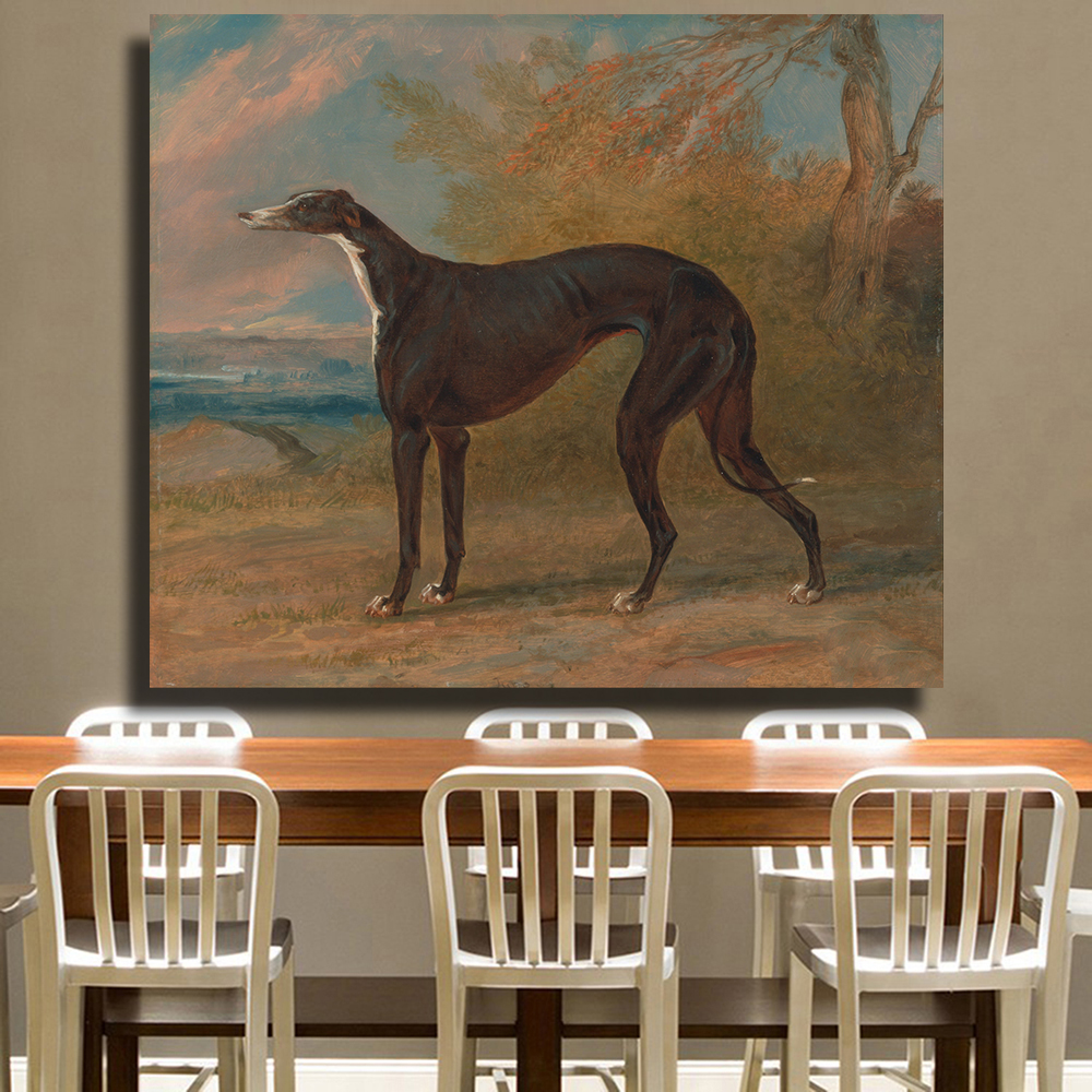 AAGG Wall Art Pictures For Living Room The Greyhound Dog Animal Painting Canvas Printing Home Decor No Frame