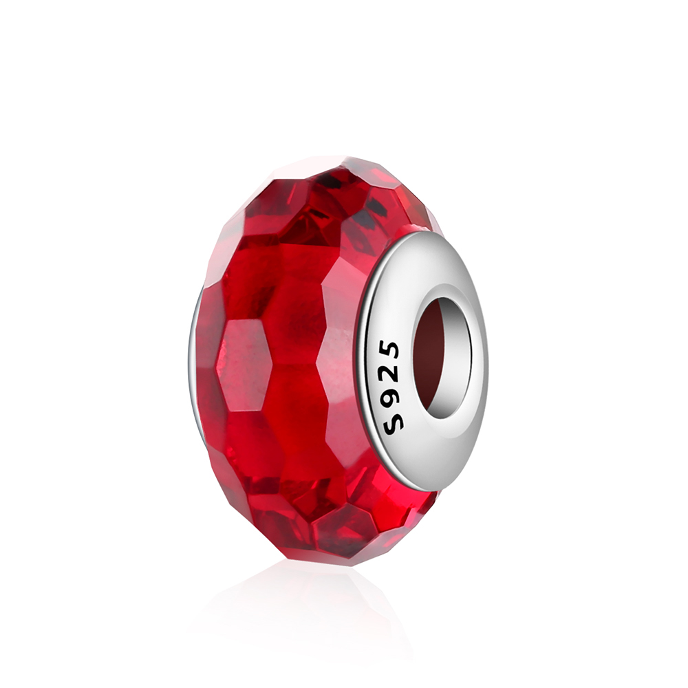 Hot Sale Silver Beads Murano Red Faceted Glass Charm Diy Bead for Women Pandora Charms Bracelets