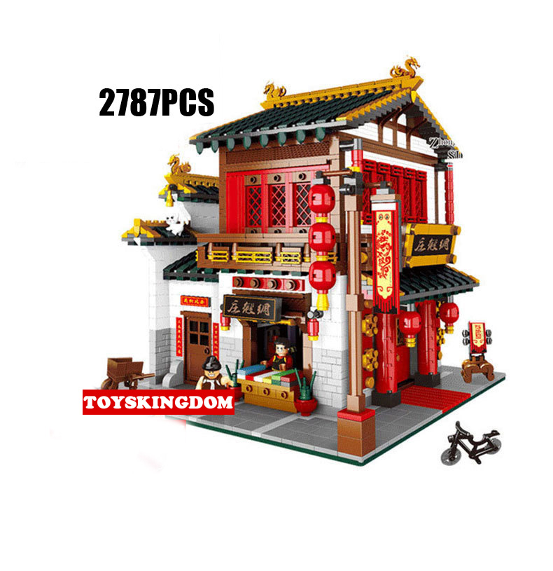 Hot city street view Chinatown silk Satin shop building block saleman figures brick educational toy collection for children loz mini diamond block world famous architecture financial center swfc shangha china city nanoblock model brick educational toys
