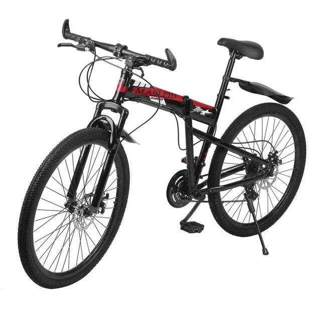 26 дюймов * 17 дюймов складной горный велосипед двойной дисковые тормоза переменной Скорость складной горный Велосипедный Спорт спереди и сзади механический велосипед