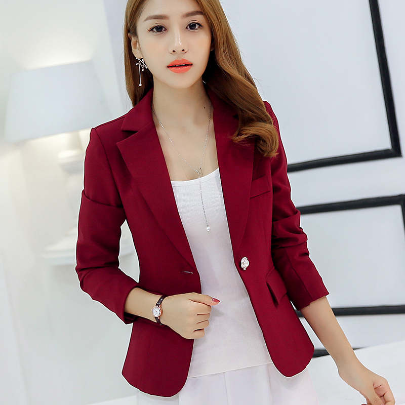 New Long Sleeved Slim Women Blazers And Jackets Small Women Suit Korean Version Slim (Gray Blue ...