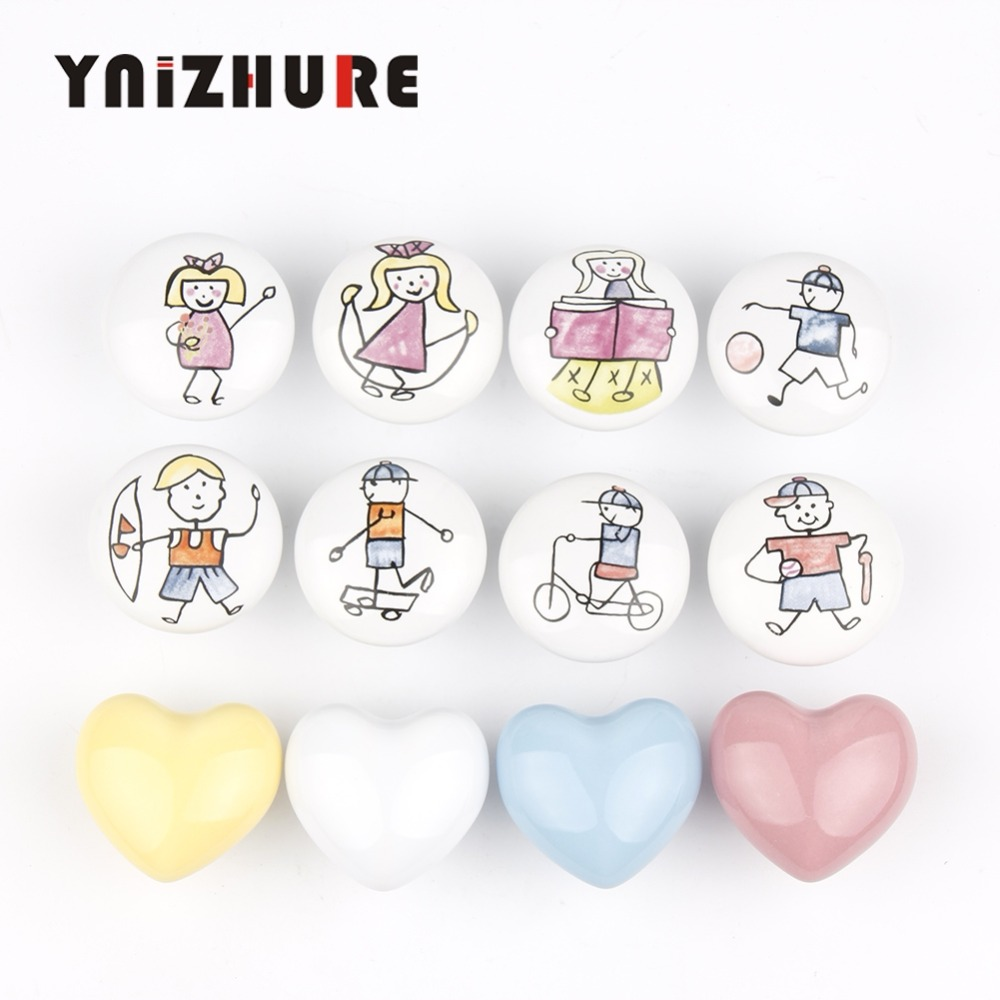 YINZHURE New Brand Acme Nordic Style Ceramic Single Round K Wardrobe Kitchen Garden Door Handle Modern Cabinet Handle