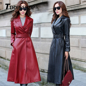 Image 1 - أسود وأحمر اللون طويل الربيع معطف جلد النساء سميكة طويلة الأكمام حزام الخصر جيب سترة الإناث
