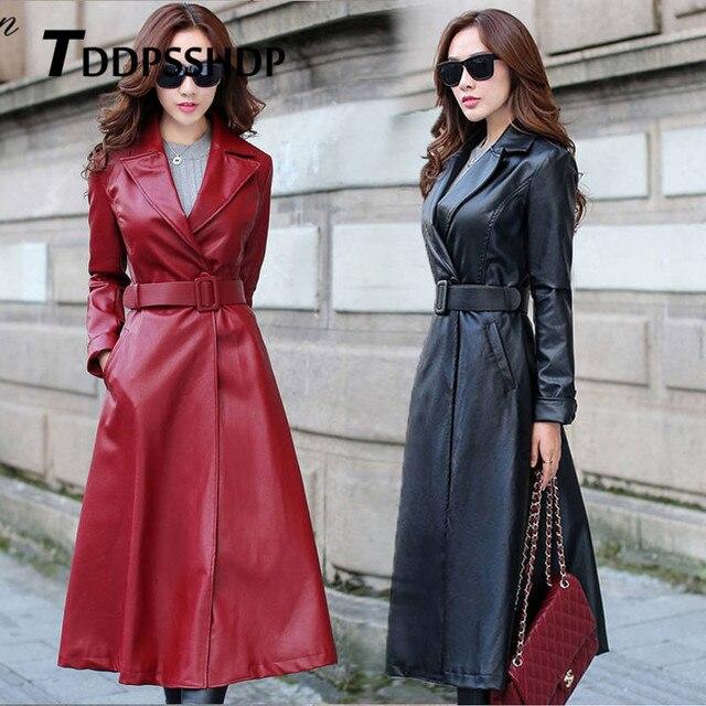 أسود وأحمر اللون طويل الربيع معطف جلد النساء سميكة طويلة الأكمام حزام الخصر جيب سترة الإناث