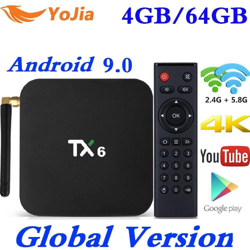 Mais novo Smart TV Box Android 9.0 Allwinner Tanix TX6 H6 4GB de RAM GB ROM 32 64G 4K 2.4G/PK 5GHz Dual WiFi 2G16G HK1 MAX Media Player