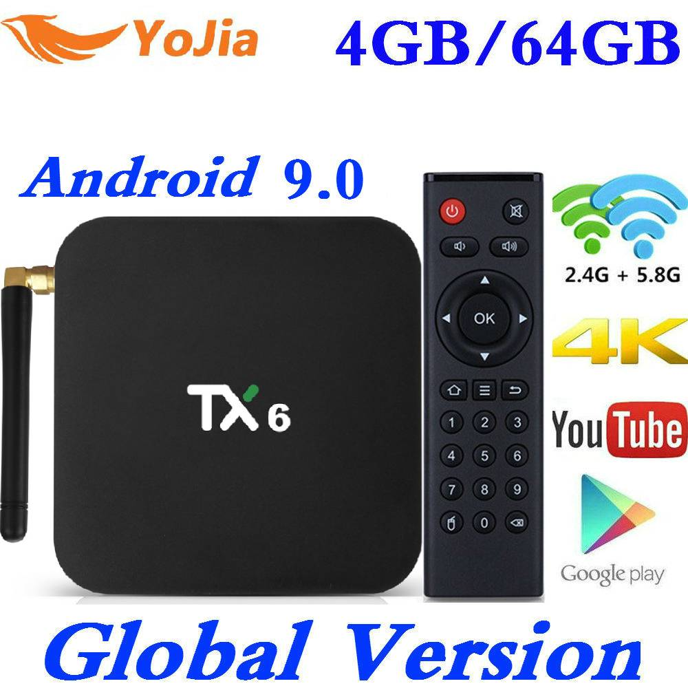 Smart TV Box Android 9.0 Tanix TX6 Allwinner H6 4GB RAM 64GB ROM 32G 4K 2.4G/5GHz Dual WiFi BT 2G16G PK T95 HK1 MAX Media Player