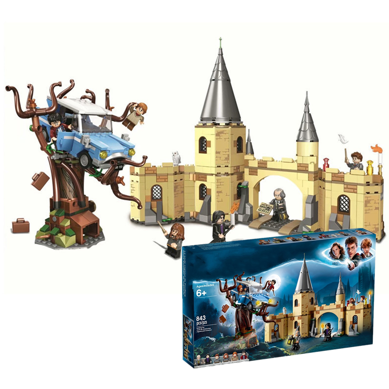 In Stock Harri Potter Movie Series Hogwarts Whomping Willow Building Blocks Bricks With legoingly 75953 Model Building Toy