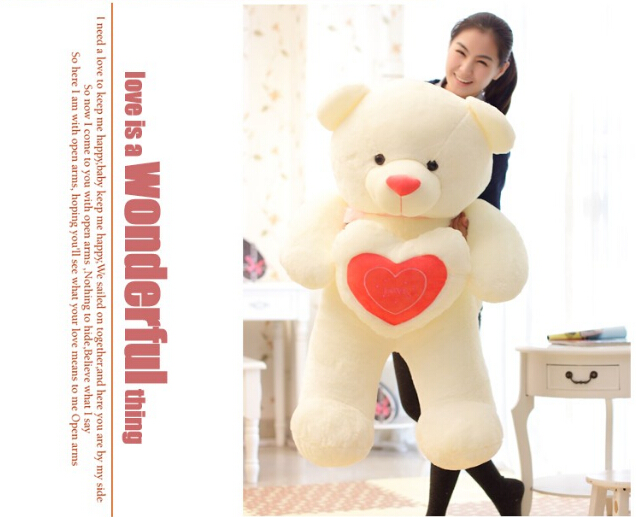 60cm Stuffed Plush Toy Holding LOVE Heart Big Plush Teddy Bear Soft Gift for Valentine Day Birthday Girls' Brinquedos  new 1pc 60cm stuffed plush toy holding love heart big plush teddy bear 2 colors soft gift valentine day birthday girl s gift