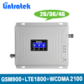 Gain 70dB 2G 3G 4G Tri Band Mobiele Signaal Booster Repeater GSM 900 MHz DCS LTE 1800 MHz WCDMA UMTS 2100 MHz met Lcd-scherm @ 4.7