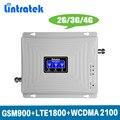 Ganar 70dB 2G 3G 4G Tri banda de amplificador de señal móvil repetidor GSM 900 MHz DCS LTE 1800 MHz WCDMA UMTS 2100 MHz con pantalla LCD @ 4,7
