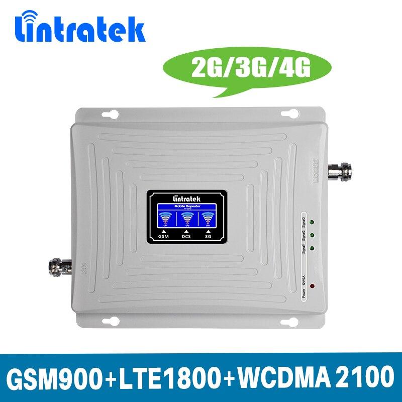 Ganar 70dB 2G 3G 4G Tri banda de amplificador de señal móvil repetidor para GSM 900 MHz + DCS LTE 1800 MHz + WCDMA UMTS 2100 MHz con pantalla LCD