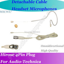MICWL T41 Detachable Cable EAR Hook Headset Microphone for Audio-Technica Wireless Hirose 4Pin connector