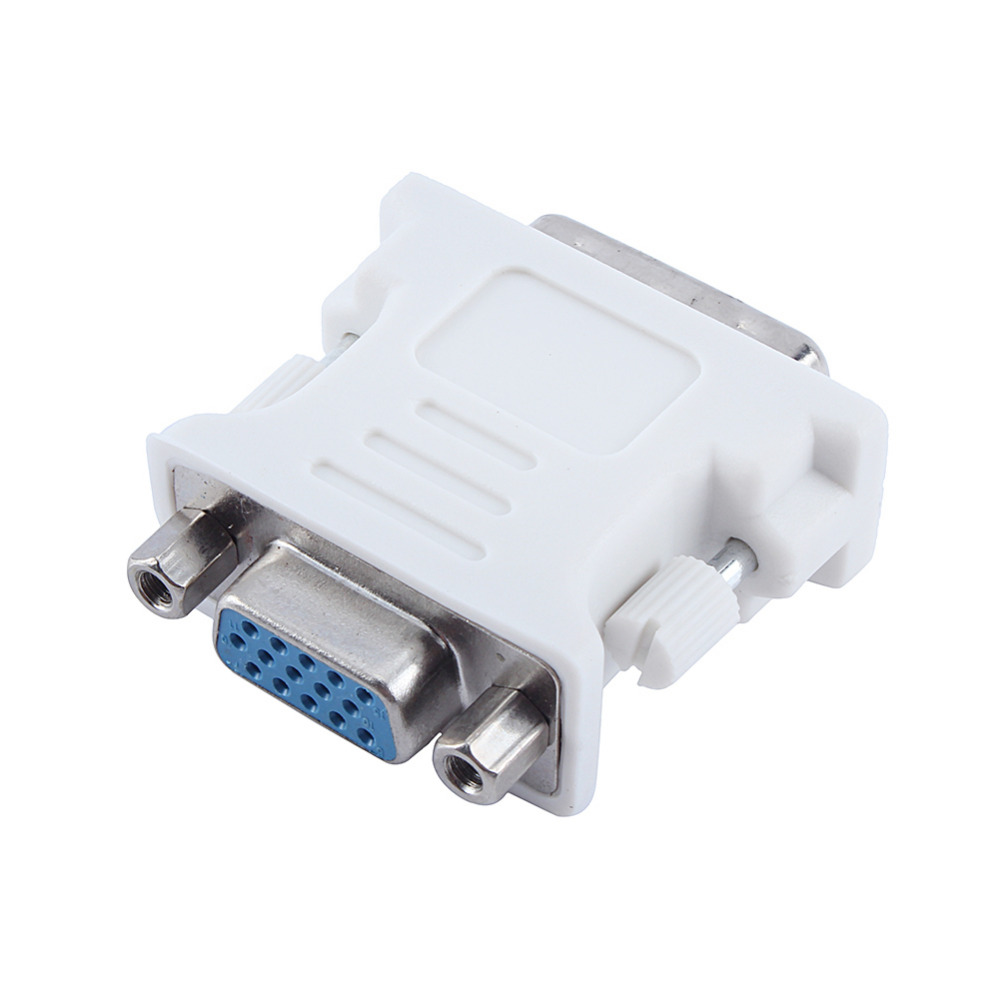 DVI-I 24+5 Male to HD 15 Pin VGA Female Video Card Monitor Converter VGA Adapter Use for PC laptop White Free Shipping