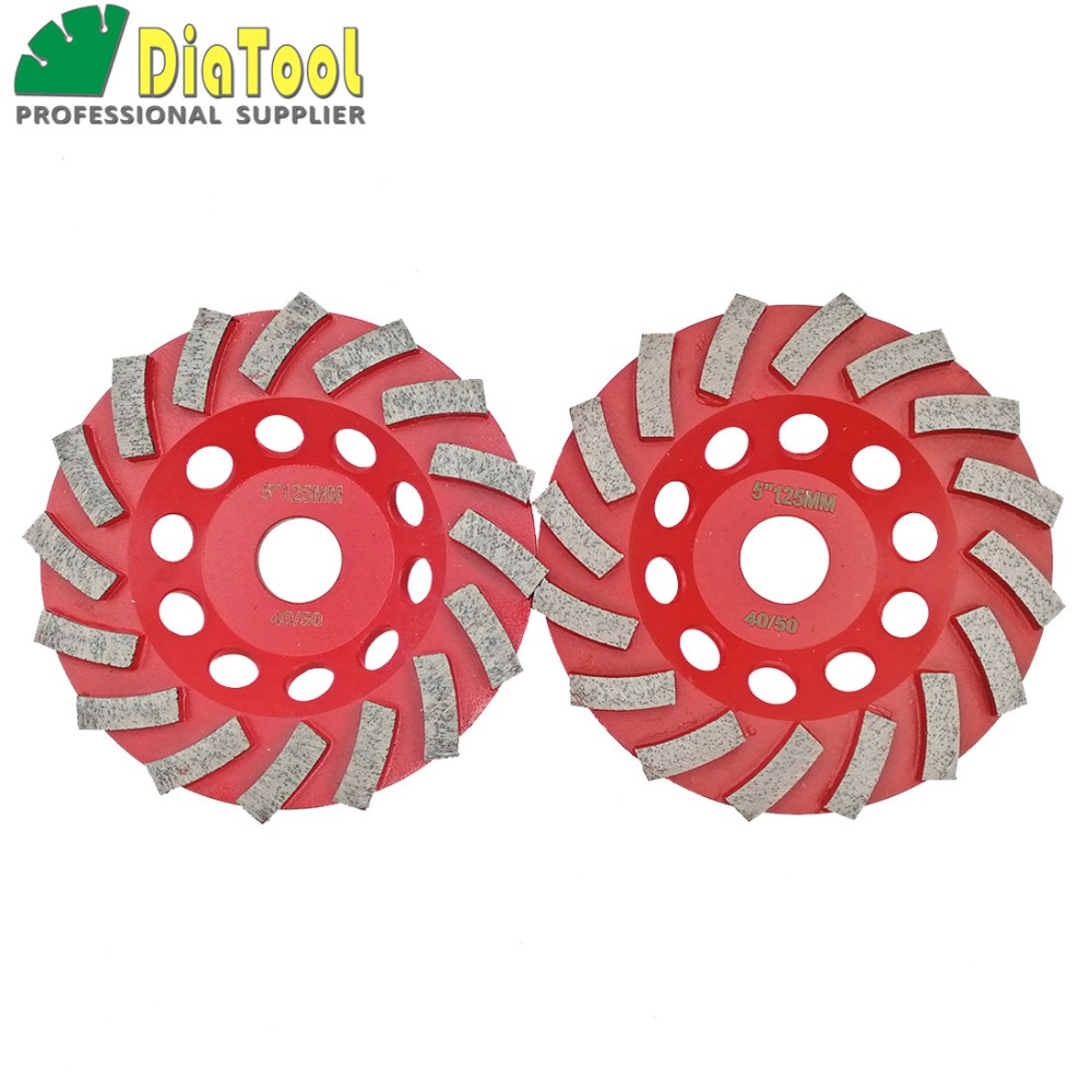 DIATOOL 2pcs Diameter 125mm Diamond Grinding Cup Wheel For Concrete, 5 Inch Grinding Disc, Segmented Turbo Type Diamond Wheel цена