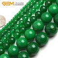 Natural Round Smooth Green Jade Beads For Jewelry Making 4-16mm 15inches DIY Jewellery FreeShipping Wholesale Gem-inside