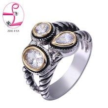 Фотография ZHE FAN Clear AAA CZ Cubic Zircon Unisex Ring Round Shape Fashion For Women Men Dress Party Christmas Gift Rings Korean Jewelry