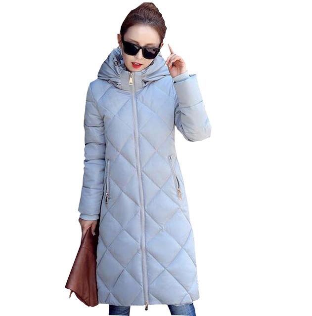 Nueva moda otoño chaqueta de invierno de Corea delgado largo abrigo de algodón acolchado de las mujeres wadded prendas de vestir exteriores encapuchada femenina abajo parkas kp0897