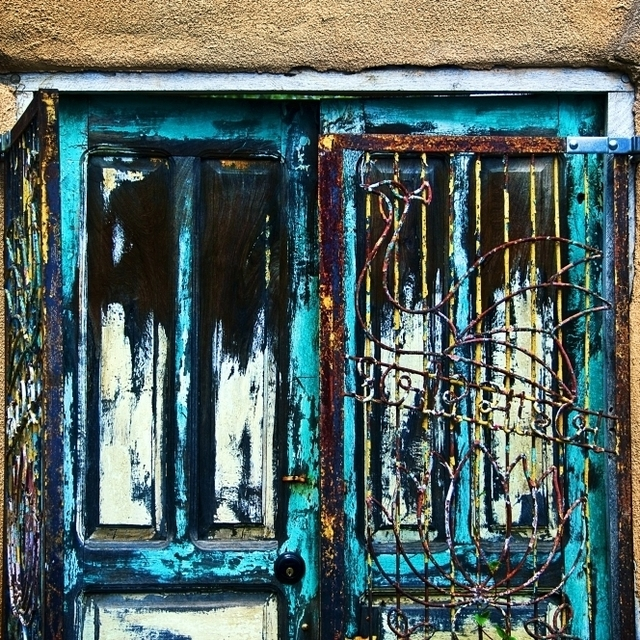 Santa Fe Doors  New Mexico  Details Of Colorful Door And Iron Gate. Poster Print (34 x 22)