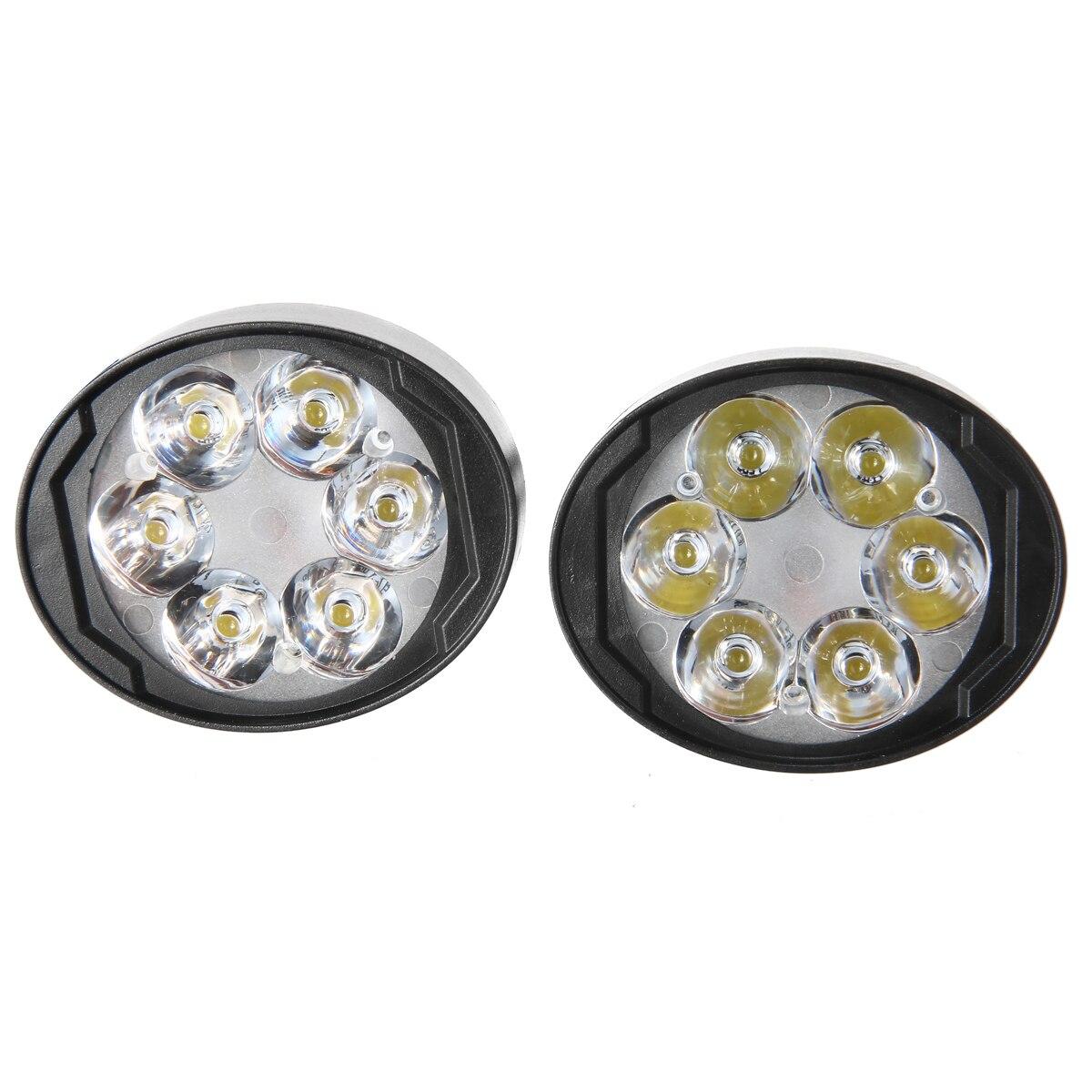 1Pair 6LED White Motorcycle Spot Fog Light Front Headlight Assist Lamp ABS Plastic Metal Stem Waterproof 6000-6500K For Honda