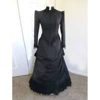 18th Century Black Cotton Gothic Victorian Party Dress Classic Long Sleeve Stage Bustle Rococo Ball Gowns For Women