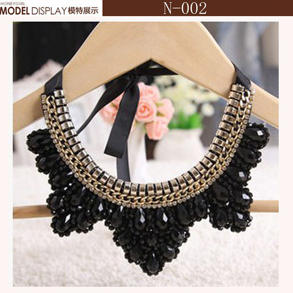 New 2015 fashion vintage silk ribbon false collar necklace accessaries elegant crystal chunky chocker statement necklace collar