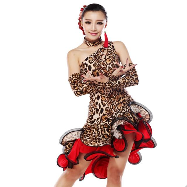 7cb050d06a Leopard Latin Dance Dress Women Competition Ballroom Dance Dress Latin  Salsa Dresses Rumba Dress Fringe Dance Clothes Vestidos