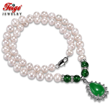Classic style Green Pendant Necklaces for Women's 8-9MM White Natural Freshwater Pearls Chorker Necklace Fine Jewelry FEIGE цена и фото