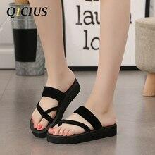 QICIUS Nouveau Solide Noir Chaussures Sandale Flip Flops Femmes Wedge Sandales Plate-Forme de Plage Pantoufles Zapatillas Chinelo Sandalia B0040