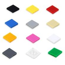 100Pcs Flat Tile 2×2 DIY Enlighten MOC Plastic Building Block Bricks Toys For Kids Compatible With Legoed Assembles Particles