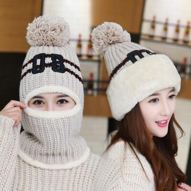5831975f36e US $8.18 35% OFF Fashion Winter Women Knitted Hat Scarf Set Wool Thickening  Hat Collars Female Warm Hat Scarf Set Casual Snow Caps H3-in Skullies & ...