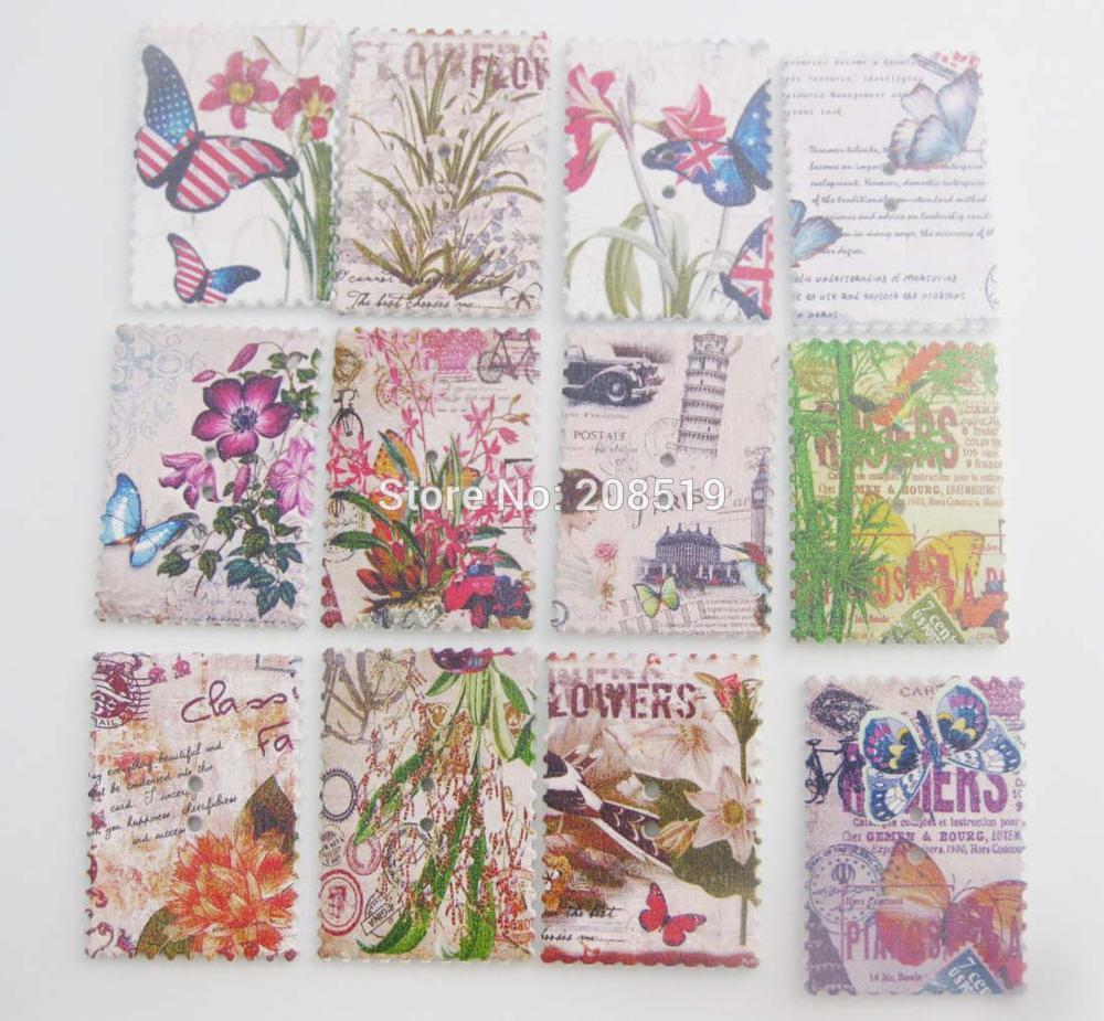 Wbnngo Postage Stamp Rectangle Wood Button 100pcs Diy