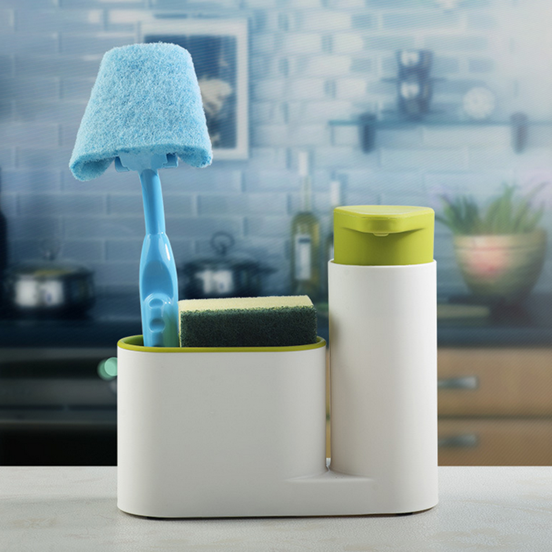 HIPSTEEN 3 Piece Sink Tidy Set Household Items 2 Containers and a Sponge Brush Holder Green-in Storage Boxes & Bins from Home & Garden on ...