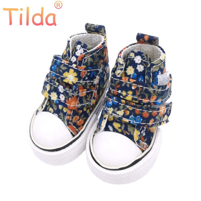 Tilda 6cm Canvas Sneakers For Minifee Paola Reina Dolls,Floral Shoes for Corolle Doll 1/4 Footwear Sneakers Dolls Accessories горка 3 уровня форма мэри энн 0055 фарфор leander 655257