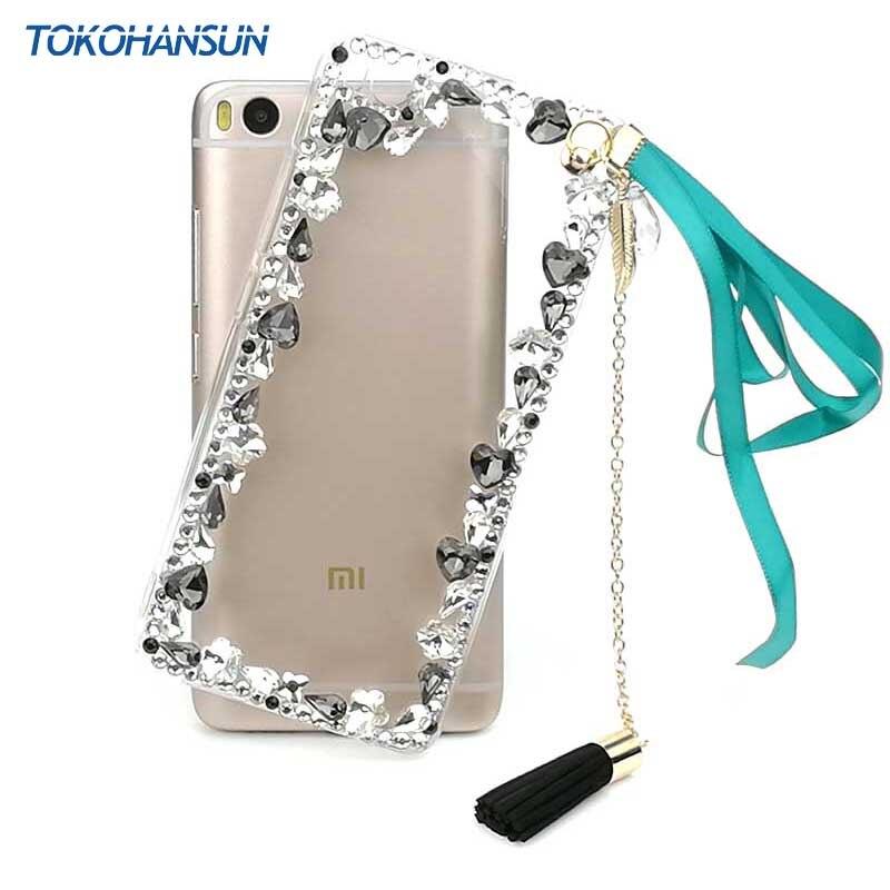 Tokohansun Fleur Cas pour Xiaomi Mi5s Couverture De Silicium Pare-chocs pour Xiaomi Mi 6 Note 4X 4A Cas Fundas Strass Téléphone accessoires