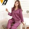 Mujeres Completo Mangas Pijama de Seda Bordado Primavera Femenina Ropa de Dormir de Invierno Superior e Inferior 3 Colores