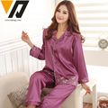 Women Full Sleeves Silk Pajamas Set Embroidery Sleepwear Female Spring Winter Top and Bottom 3 Colors