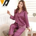 Women Full Sleeves Silk Pajamas Set Embroidery Sleepwear Female Spring Winter Top and Bottom 3 Colors
